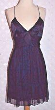 JULIE BROWN BLUE OAK CHIFFON Silk WAVE PATTERN DRESS W/ SPAGHETTI STRAPS XS New