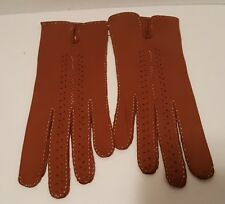 Vintage Woman's Brown Soft Leather Gloves Size 6.5 New Serie P.V.P. Tag