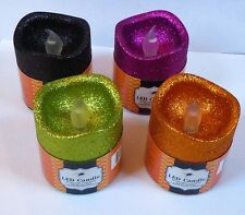 """Set of 4 Halloween LED Flickering Spooky Candles 3"""" x 2.75"""" - 4 Assorted Colors"""