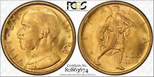 GOLD ITALY 1931 50 l PCGS MS-65