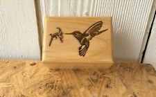 Solid Wood Small Pet Cremation Urn Engraved Humming Bird on Top