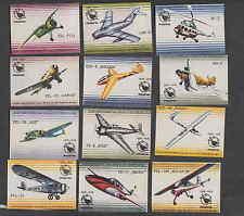 Série   étiquettes  allumettes Pologne V121 Avion Planeur Hélicoptère