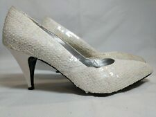 Ann Marino Pearl White Sequins High Heel Pumps Size 10B Slip On