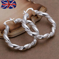 925 Sterling Silver plated Hoop Earrings Large Twisted Rope Chunky Gift Bag UK