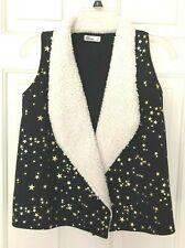 EPIC THREADS Kids Girls Faux Fur Open Front Star Pattern Vest Black Size M, $34