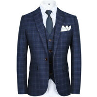 Men Blue Plaid Suits Vintage Groom Tuxedos Formal Wedding Prom Party Dinner Suit