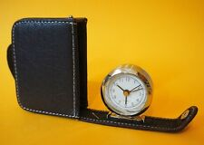 Travel Quartz Alarm Clock in brown leather case - oracle - Leaclo 2