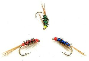 3 Hot Head DIAWL BACH Trout Flies UV Holographic Nymph Fly Fishing Size 10,12,14