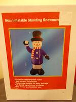 "94"" Christmas Standing snowman inflatable NEW airblown yard light decor"