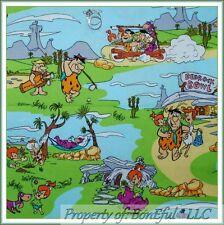 BonEful Fabric FQ Cotton Scenic Bedrock Bowl Flinstones Family VTG Dino Cartoon