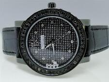 2.0 Ct MJ-1046 Womens Ladies Jojo Jojino Black 1 Row Diamond Leather Band Watch