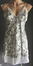 As New ANYTIME ANYWHERE Black & Ivory Floral Print Nightie Size XL