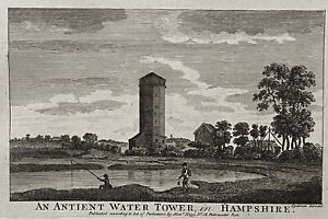 Original antique print ANCIENT WATER TOWER, HAMPSHIRE, BOSWELL, 1786