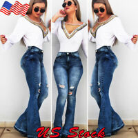 Women's Denim Flared High Waist Wide Leg Pants Ladies Bell Bottom Jeans Trousers