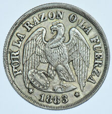 CHILE REPUBLIC DECIMO, 1883 SILVER COIN EF+