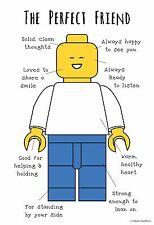 "13""×19"" Inspirational Motivational Poster LEGO Mini Figure PERFECT FRIEND Boy"