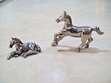Set of 2 Pewter Horses