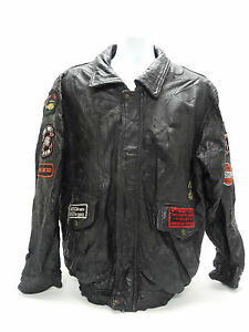 NAPOLINE LEATHER OUTFITTERS BLACK LEATHER JACKET~PATCHES~CAFE RACER 2XL in GUC