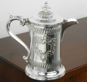 HANDSOME ANTIQUE SILVER PLATED TANKARD STYLE JUG - SHEFFIELD c. 1900