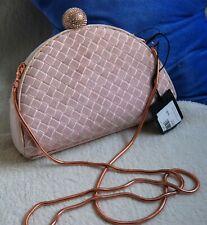 Ted Baker Hallii Velvet Crystal Bobble Clasp Clutch Bag, Dusky Pink