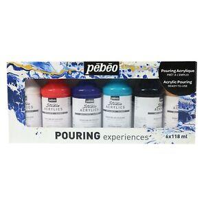 Pebeo Pouring Experiences Acrylic Liquid Colour Paint Set 6 x 118ml