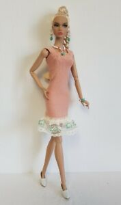 Poppy Parker Doll Clothes peach DRESS and JEWELRY Handmade Fashion NO DOLL d4e