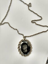 Vintage Black Glass Intaglio Cameo Pendant  with Necklace Silver Tone