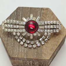 Vintage Red Cabochon Clear Rhinestone Made In France Dangle Hair Barrette