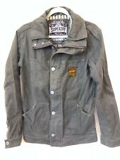 SUPERDRY Mens Boys Olive Grey Denim Army Hero Military Jacket Coat S Immaculate