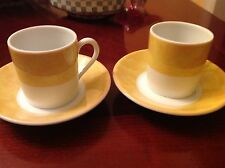 CH FIELD HAVILAND PARLON LIMOGES Yellow EDITE PAR Demi Cup Saucer Set of 2