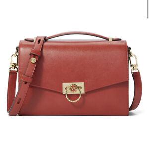 ❤️ Michael Kors Hendrix Medium Terracotta/Gold Leather Messenger Bag