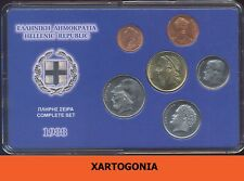 GREECE COINS 1988, COMPLETE SET in case, UNC