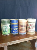 4 Edison Cylinder Cases only No Lids Phonograph Records--antique shabby decor