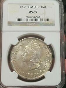 Dominican Republic 1952 Peso Silver MS65 NGC