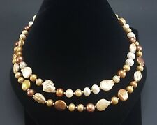 "Fresh Water Pearl Necklace with Natural Round and Baroque Pearls 19"" J52"
