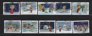 US Sc# 5021-5030 CHARLIE BROWN CHRISTMAS SET of 10 USED OFF PAPER SOUND