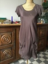 Belle Robe Etam Taille 38 en Soie Marron Chocolat Neuve