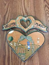 Hand Painted Heart Shaped Wood Hanging Welcome Sign - Adorable 💕
