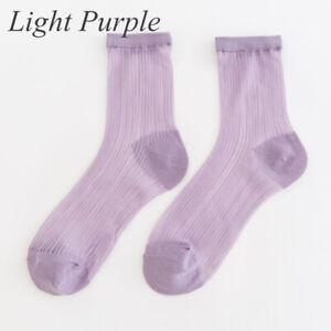 Women Casual Elastic Socks Candy Colors Non-Slip Thin Sheer Mesh Socks Sweet