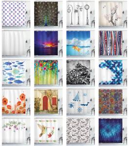 Cloth Shower Curtain Fabric Bathroom Decor Set & Hooks by Ambesonne