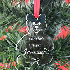 Personalised BABY First Christmas Tree Decoration Bauble Gift Present Teddy 1st