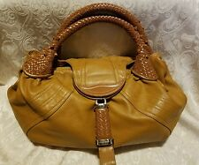 Classic! Vintage Cognac Soft Leather Stylish Bag Large Hobo Style Woven Handles