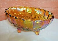 Indiana Glass Iridescent Gold Carnival Garland Oval 4 Toed Center Fruit Bowl