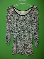 0926) NWOT MICHAEL KORS large L black white jersey knit top elastic waist new L
