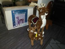 Vintage Plush Reindeer & Baby Excellent In Original Box Traditions Beautiful Set