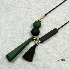 Geometric Tassels Pendant Long Chain Sweater Necklace Jewelry Delicate colors