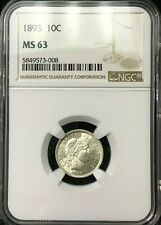 1893 Barber Dime NGC MS-63 BLAST WHITE BARBER DIME with .99c START