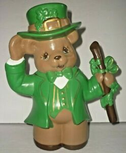 "Ceramic St Patrick's Day Bear Statue Figurine 10 1/4"" Tall St Paddy's Decoration"