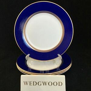 "Perfect Set of 4 Wedgwood RENAISSANCE GOLD 8"" Cobalt Blue Salad Plates"