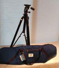 Blk Aluminum Pro Tripod: geared column & Bogen 329 QR Head w/Plate & Storage Bag